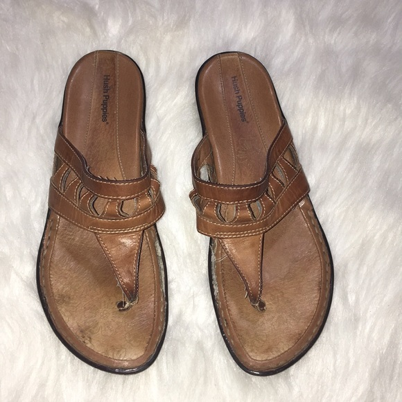 b19f7828fa2 Hush Puppies Brown Leather Thong Sandals Wms 85